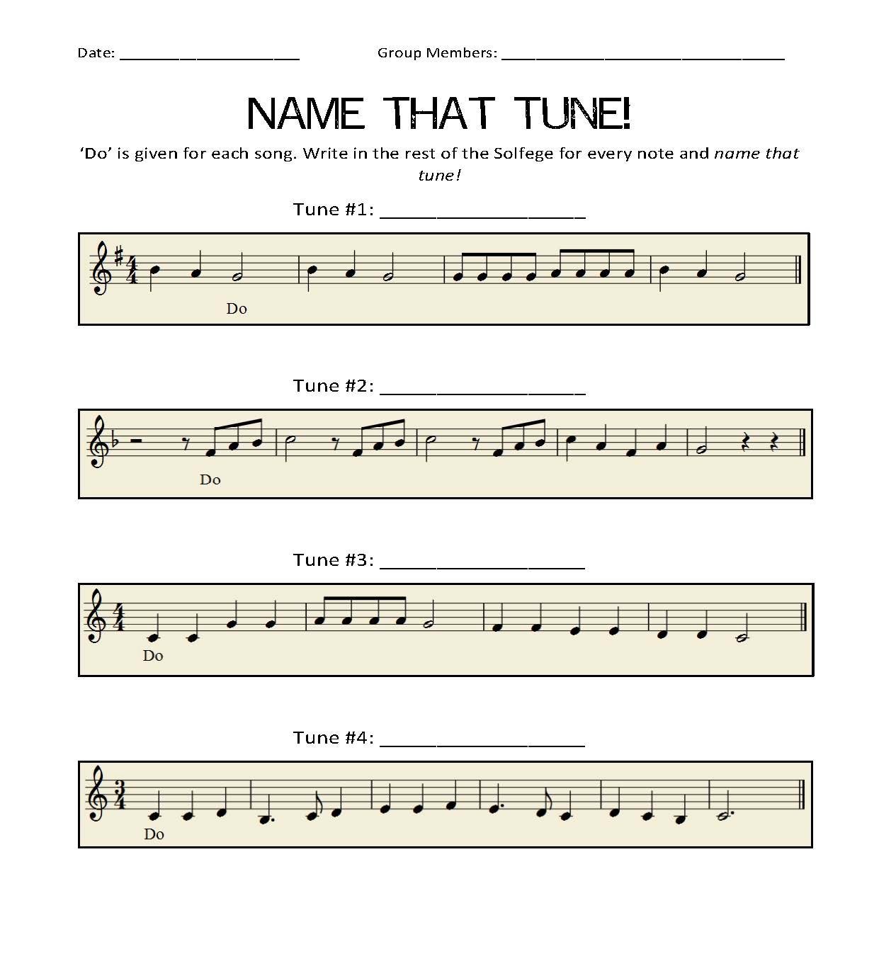 name that tune solfege worksheet
