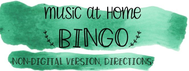 Music at Home Bingo